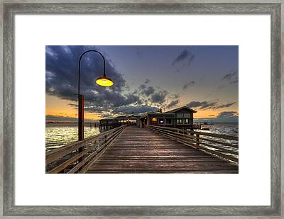 Dock Lights At Jekyll Island Framed Print by Debra and Dave Vanderlaan