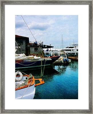 Docked Boats In Newport Ri Framed Print by Susan Savad