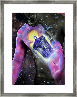 Doctor Box In Space Framed Print by Hodge Podge House-Live Canvas Art