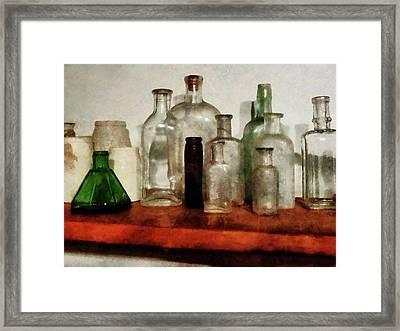 Doctor - Medicine Bottles Tall And Short Framed Print by Susan Savad