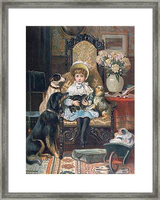 Doddy And Her Pets Framed Print by Charles Trevor Grand