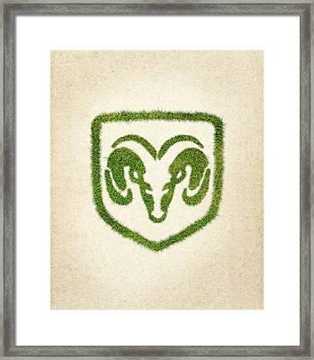 Dodge Grass Logo Framed Print by Aged Pixel
