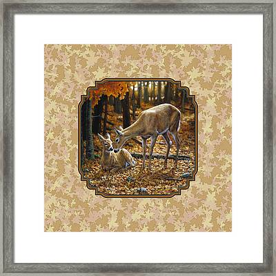Doe And Fawn Autumn Leaves Pillow And Duvet Cover Framed Print by Crista Forest