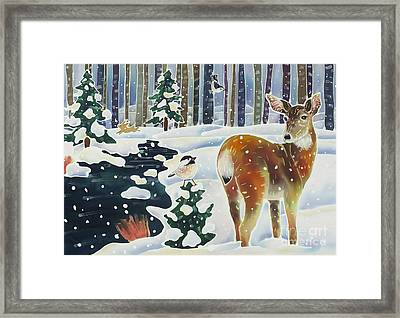 Doe And The Chickadee Framed Print by Harriet Peck Taylor