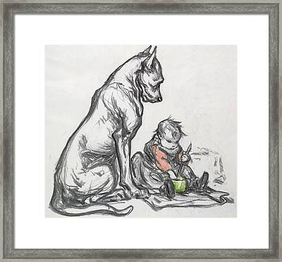 Dog And Child Framed Print by Robert Noir