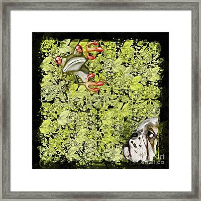 Dog And Frog - 01f04a2g Framed Print by Variance Collections