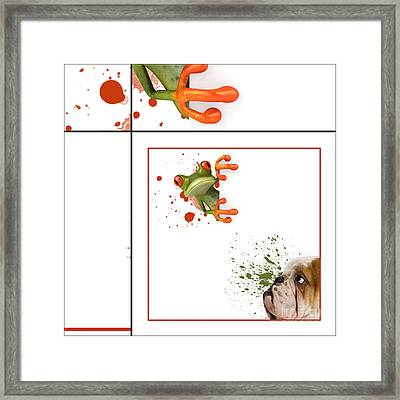 Dog And Frog - 01fr03 Framed Print by Variance Collections