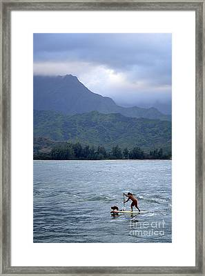 Dog And Man Paddleboarding In Hanalei Bay Framed Print by Catherine Sherman
