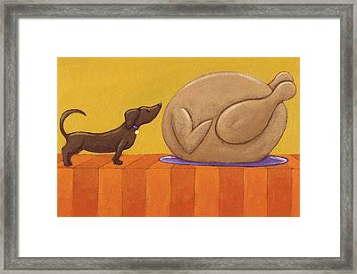 Dog And Turkey Framed Print by Christy Beckwith