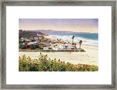 Dog Beach Del Mar Framed Print by Mary Helmreich