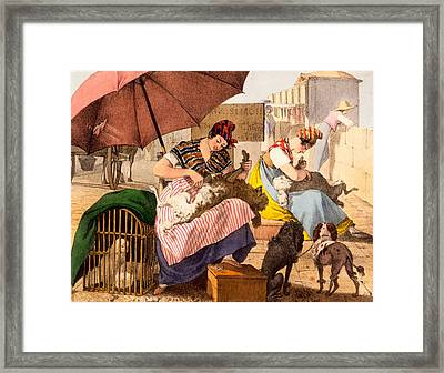 Dog Groomers, 1820 Framed Print by French School