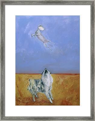 Dog Painting - Joyous Amusement By Barbara J Hart Framed Print by Barbara J Hart