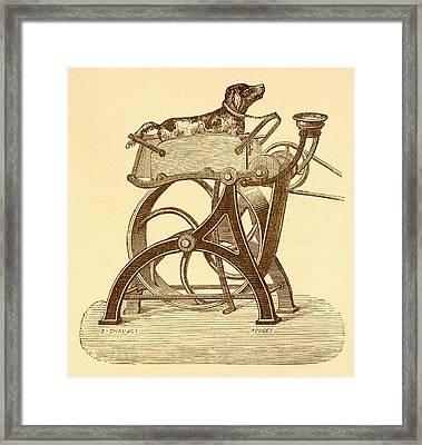 Dog Powered Sewing Machine Framed Print by David Parker