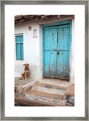 Dog Resting Outside A House, Jojawar Framed Print by Inger Hogstrom