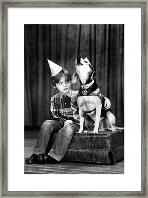 Dog Sings Happy Birthday Framed Print by Retro Images Archive