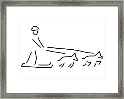 Dog Sledges Run Sledge Dogs Framed Print by Lineamentum
