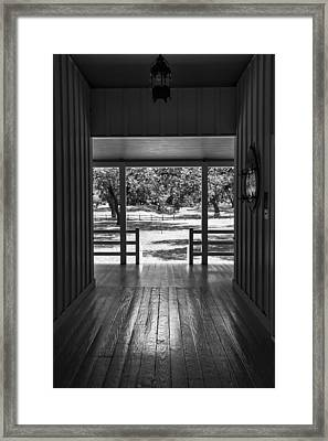 Dog Trot At Lbj Birthplace Bw Framed Print by Joan Carroll