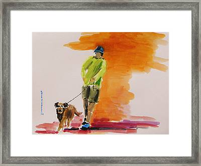 Dog Walker Framed Print by John  Williams