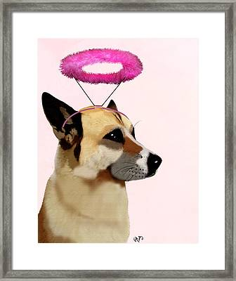 Dog With Pink Halo Framed Print by Kelly McLaughlan
