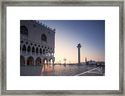 Doges Palace At Sunrise Venice Italy Framed Print by Matteo Colombo