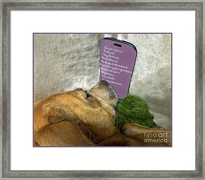 Doggy Hashtags Framed Print by Renee Trenholm