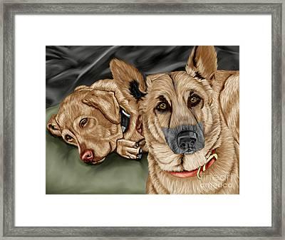 Dogs Framed Print by Karen Sheltrown