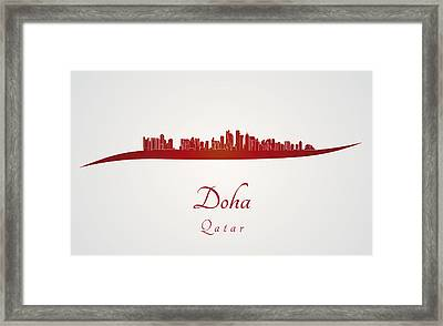 Doha Skyline In Red Framed Print by Pablo Romero