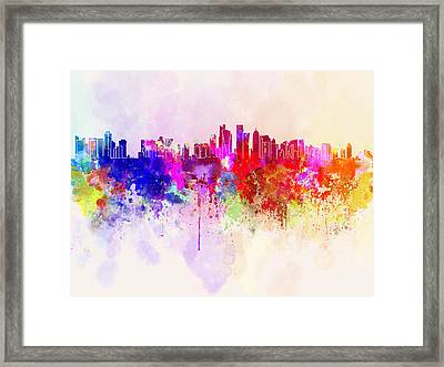 Doha Skyline In Watercolor Background Framed Print by Pablo Romero