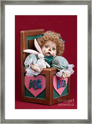 Doll Clown In Box Framed Print by Cindy Singleton