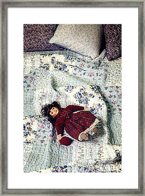 Doll On Bed Framed Print by Joana Kruse