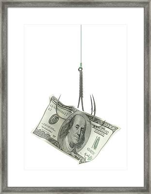 Dollar Banknote Baited Hook Framed Print by Allan Swart