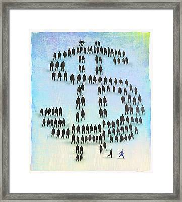Dollar Crowd Framed Print by Steve Dininno