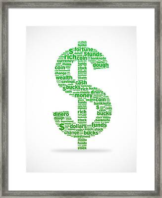 Dollar Sign Framed Print by Aged Pixel