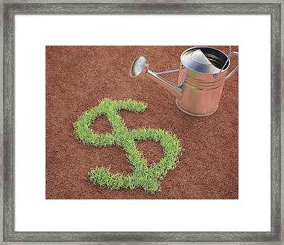 Dollar Sign And Watering Can Framed Print by Ktsdesign