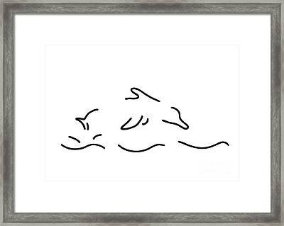 Dolphin Jump Sea Dolphin Framed Print by Lineamentum