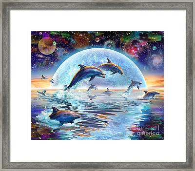Dolphins By Moonlight Framed Print by Adrian Chesterman
