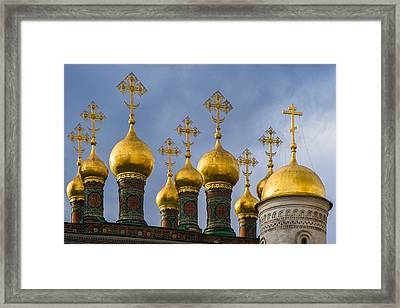 Domes Of The Church Of The Nativity Of Moscow Kremlin - Featured 3 Framed Print by Alexander Senin