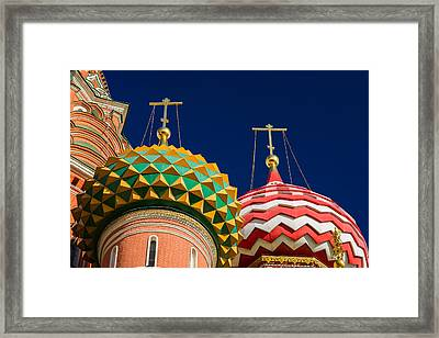 Domes Of Vasily The Blessed Cathedral - Feature 3 Framed Print by Alexander Senin