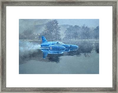 Donald Campbell And Bluebird Oil On Canvas Framed Print by Peter Miller