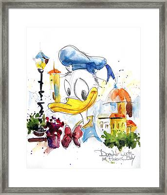 Donald Duck In Florence Italy Framed Print by Andrew Fling