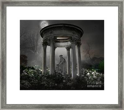 Don't Wake Up My Sleepy White Roses - Moonlight Version Framed Print by Bedros Awak