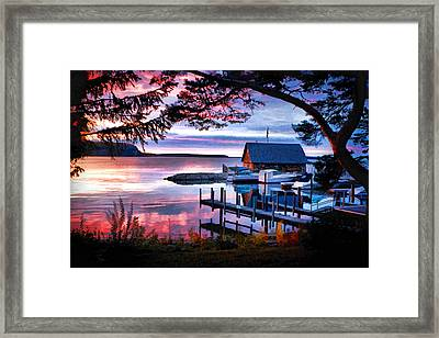 Door County Anderson Dock Sunset Framed Print by Christopher Arndt