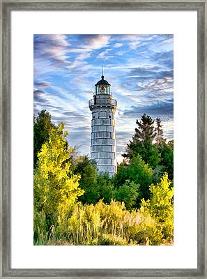 Door County Cana Island Beacon Framed Print by Christopher Arndt