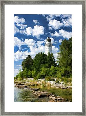 Cana Island Lighthouse Cloudscape In Door County Framed Print by Christopher Arndt
