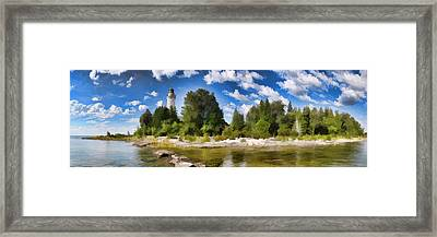 Door County Cana Island Lighthouse Panorama Framed Print by Christopher Arndt