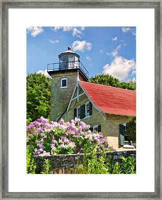 Door County Eagle Bluff Lighthouse Lilacs Framed Print by Christopher Arndt