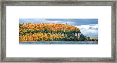 Door County Peninsula State Park Bluff Panorama Framed Print by Christopher Arndt