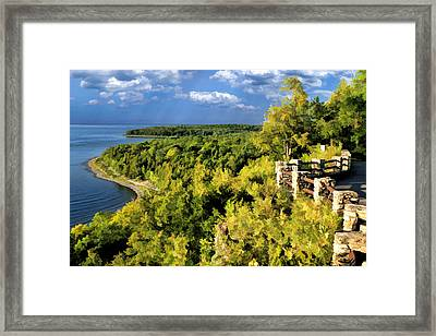 Door County Peninsula State Park Svens Bluff Overlook Framed Print by Christopher Arndt