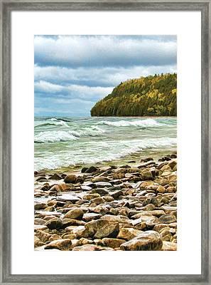 Door County Porcupine Bay Waves Framed Print by Christopher Arndt