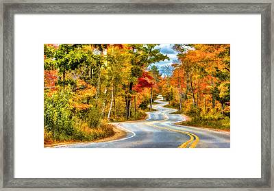 Door County Road To Northport In Autumn Framed Print by Christopher Arndt
